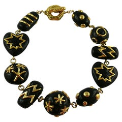 Christian Lacroix Vintage Gold Toned and Black Resin Links Necklace