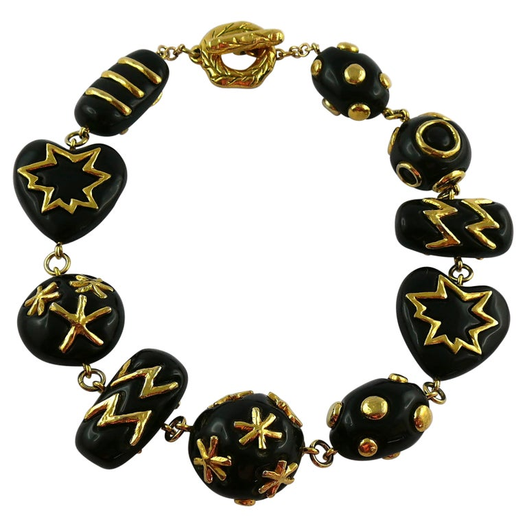 Christian Lacroix Vintage Gold Toned and Black Resin Links Necklace For Sale