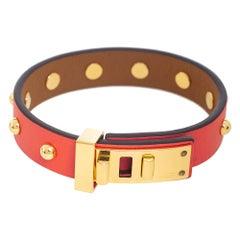 Hermes Orange Leather Gold Plated Mini Dog Clous Ronds Bracelet Size T2