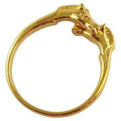 Hermes Paris Vintage Gold Toned Double Horse Head Bangle Bracelet
