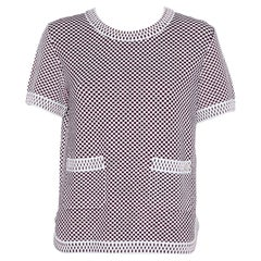 Chanel Multicolor Patterned Knit Short Sleeve Crewneck Sweater M