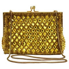 Yellow and Gold Sequin and Gold Bead Evening Bag Made in Hong Kong circa 1960s