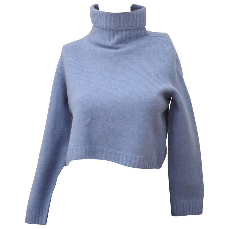 The Row Cropped T-Neck Sweater in Chambray  For Sale