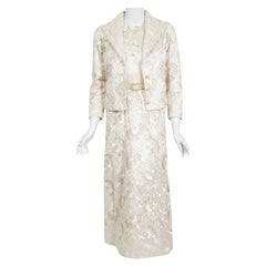 Vintage Chanel Haute Couture Ivory Lesage Embroidered Silk Belted Gown & Jacket