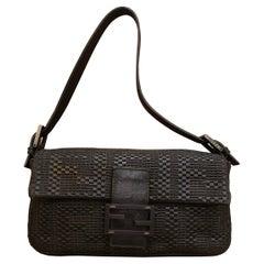 Fendi Black Woven Leather Baguette Bag