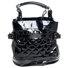 Burberry Black Quilted Patent Leather Tote
