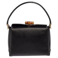 Gucci Black Leather Bamboo Turn Lock Top Handle Bag