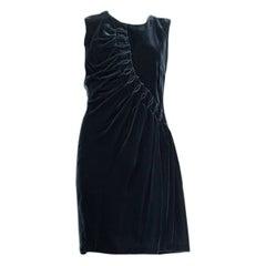 JIL SANDER petrol green velvet DRAPED Sleeveless Dress 38 M