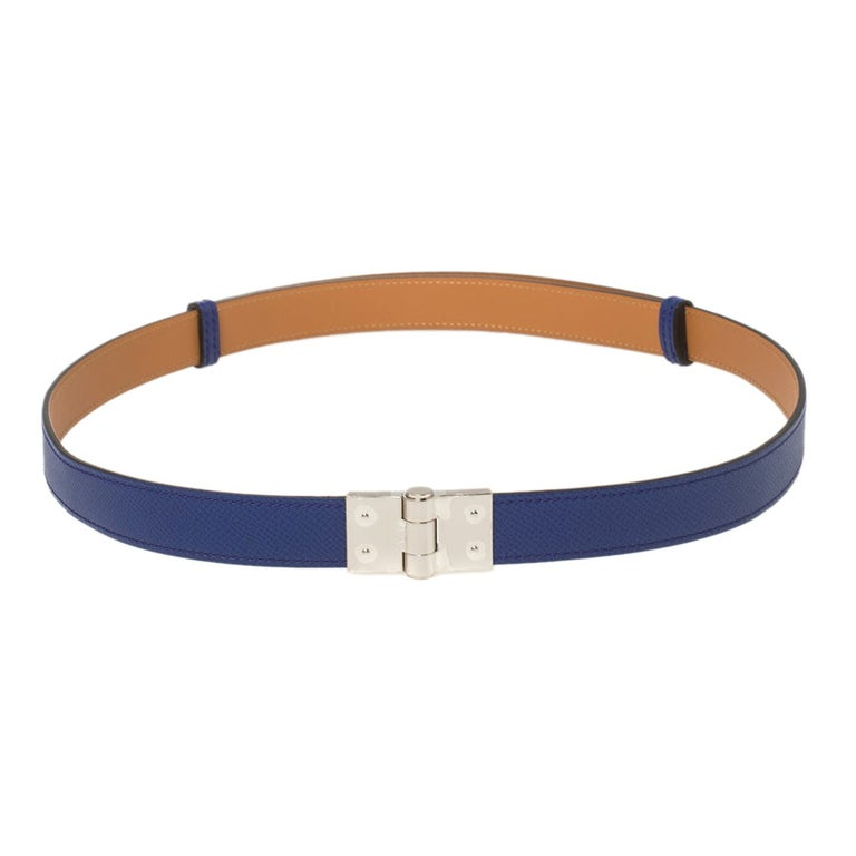 Hermes Electric Blue Veau Epsom Leather Charniere Belt S For Sale
