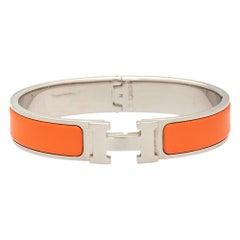 Hermès Clic H Orange Enamel Palladium Plated Narrow Bracelet PM