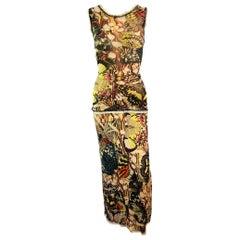Jean Paul Gaultier Vintage Butterfly Print Top & Skirt Ensemble 2 Piece Set