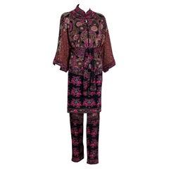 Vintage Leonard Paris Printed Silk  Mini Dress / Tunic & Pants Set 1970s
