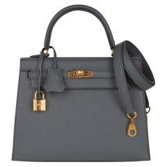 Hermes Kelly Sellier 25 Bag Vert Amande Gold Hardware Epsom Leather
