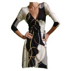 Gray ribbon print silk jersey wrap dress FLORA KUNG - NWT