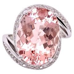 6.59 Carat Oval Morganite and Diamond Cocktail Ring Estate Fine Jewelry