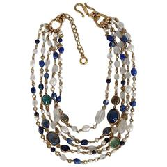 Goossens Paris 5 Row Tinted Blue Rock Crystal and Pearl Necklace