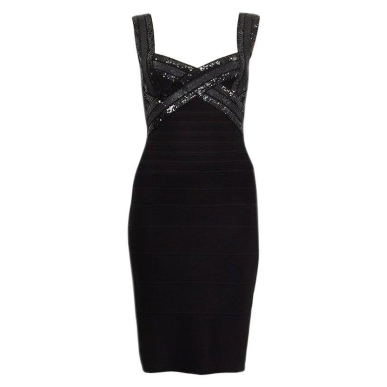 HERVE LEGER black SEQUINS CRISS CROSS Sleeveless BANDAGE BODYCON Dress S For Sale