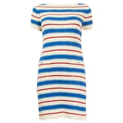 CHANEL white blue red STRIPED cotton Short Sleeve Knit Dress 38 S