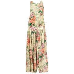 ZIMMERMANN yellow cotton FLORAL Sleeveless MAXI Dress 2 S