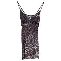 FLORA KUNG Gray Japanese Tassel Print Silk Jersey Slip Dress