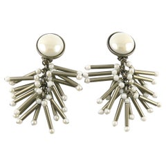 Paco Rabanne Vintage Antiqued Silver Toned Tubular Charms Dangling Earrings