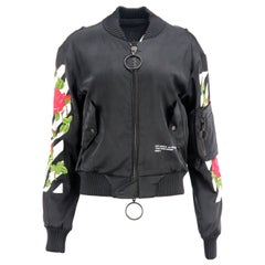 Off-White C/O Virgil Abloh Embroidered Satin Bomber Jacket Small