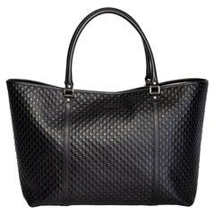 Gucci Black Leather Micro Guccissima Large Joy Tote Bag