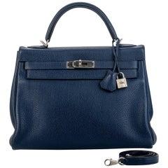 Hermes Kelly 32 Blue Nuit Clemence Satin Bag