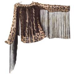 Dolce & Gabbana leopard print silk fringe blouse
