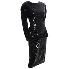 Lillie Rubin Vintage Dress 1980s Luxe Black Sequins Peplum