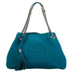 New GucciTurquoise Suede Shoulder Bag