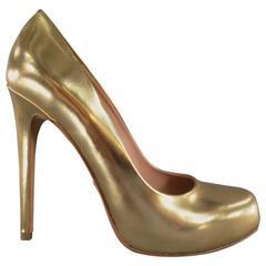 ALEJANDRO INGELMO Size 9 Metallic Gold Leather Platform Pumps