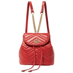 Gucci Marmont Matelasse Leather Mini Backpack - Red