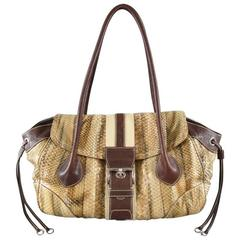 PRADA Tan Python Snake Skin Striped Belt Buckle Shoulder Bag