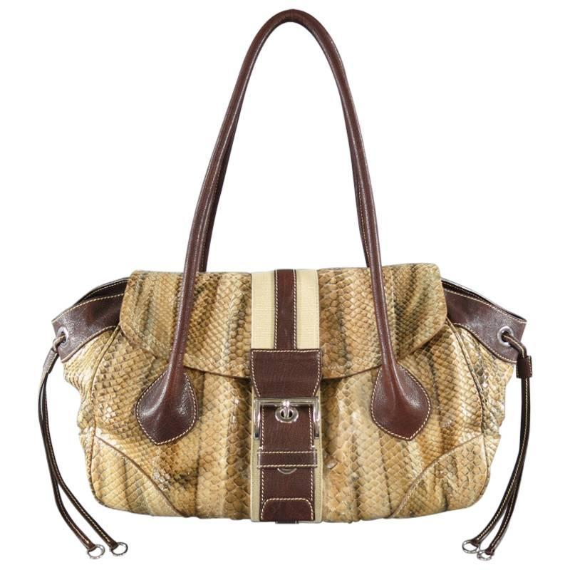 PRADA Tan Python Snake Skin Striped Belt Buckle Shoulder Bag For ...