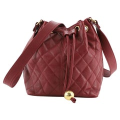 Chanel Vintage Bucket Bag Quilted Caviar Small