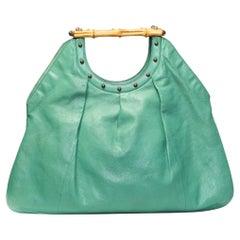 Gucci Vintage Green Tom Ford Bamboo Handle Hobo Bag