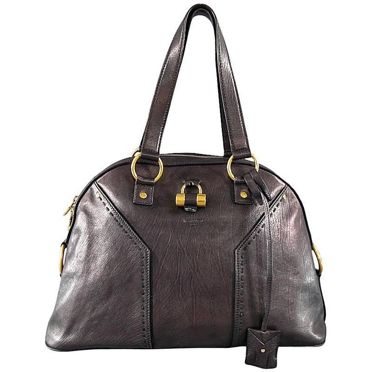 YVES SAINT LAURENT YSL MUSE Dark Brown Leather Tote Handbag at 1stdibs