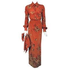 1970s Valentino 2 piece Velvet Maxi Skirt and Silk Blouse in Rare Acorn Print