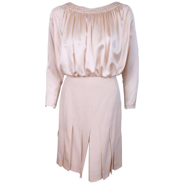 Galanos Cream Silk Charmeuse Cocktail Dress  For Sale