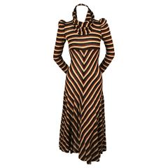 1970's BIBA metallic chevron striped dress with cowl neck