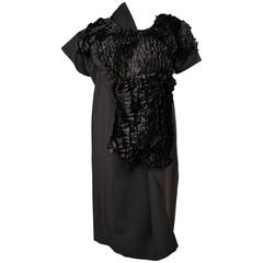 COMME DES GARCONS asymmetrically cut black dress with ruffles - unworn