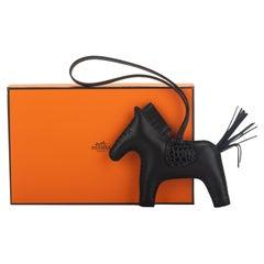 New Hermès So Black Touch Croc Rodeo Bag Charm