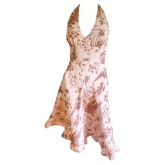 Dusty Rose Silk Crepe Backless printed Halter Midi dress - Flora Kung