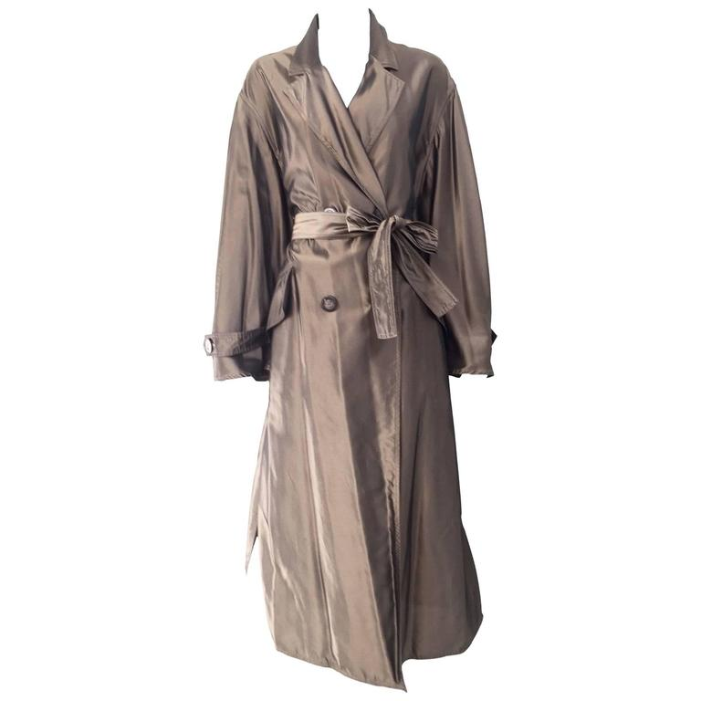 Krizia Poi bronze light silk trench coat, 1980s  For Sale