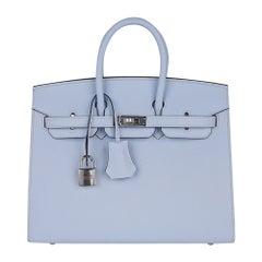 Hermes Birkin 25 Sellier Bag Blue Brume Epsom Palladium Hardware New