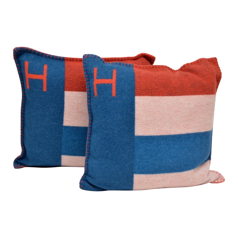 Hermes Casaque  Merino Pillow Cushion Set /Two Bleu/Gre  New With Tags  50x50 SZ For Sale