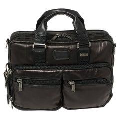 TUMI Metallic Brown Leather Alpha Bravo Andersen Slim Commuter Briefcase