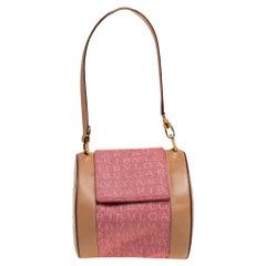 Bvlgari Pink/Beige Denim and Leather Cylinder Bag
