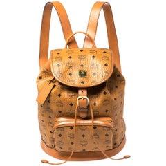 MCM Cognac Visetos Coated Canvas and Leather Brandenburg Drawstring Backpack
